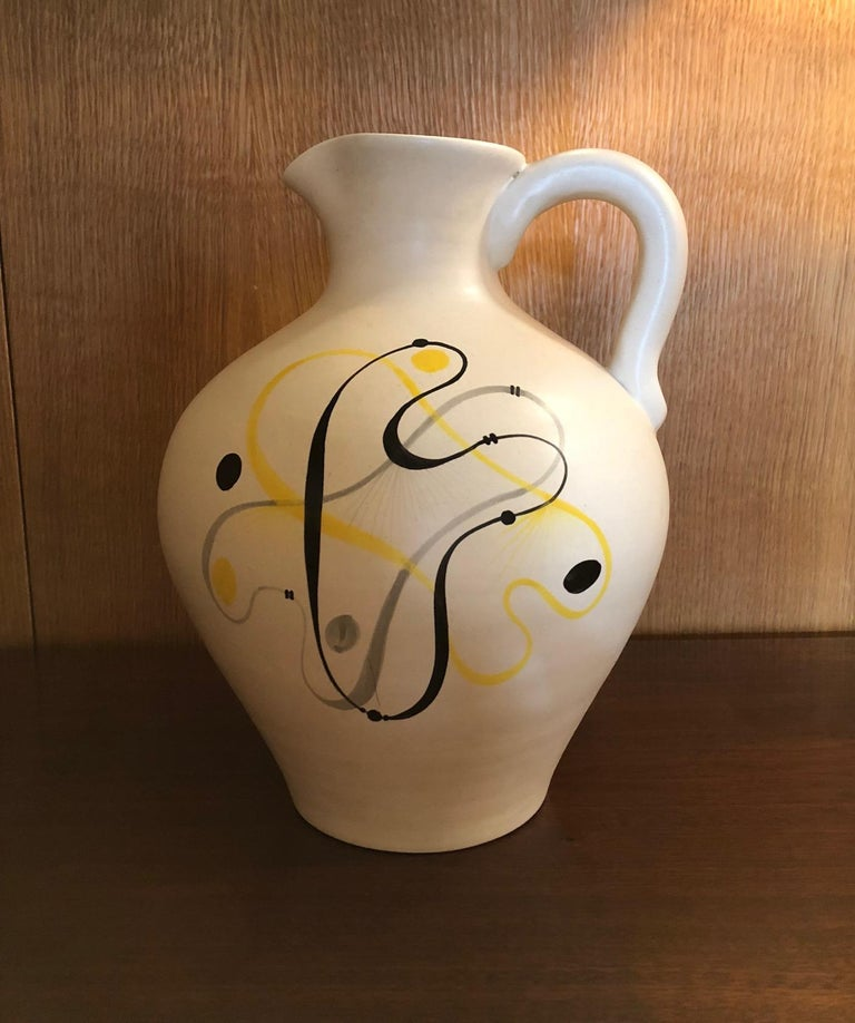 Abstract ceramic jug by André Baud, Vallauris, France, 1950s.