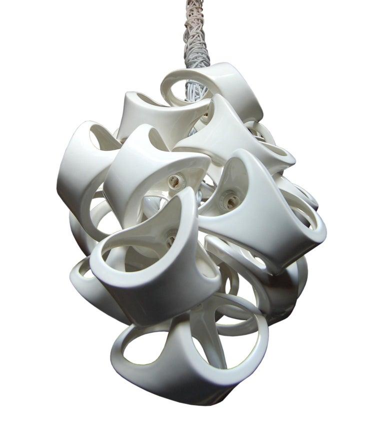 American Ceramic Lamp 18 Grape Cluster Chandelier For Sale