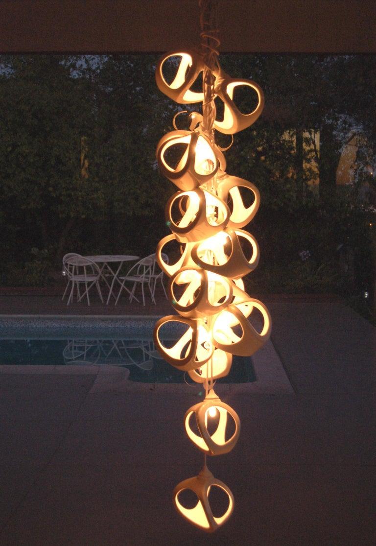 Ceramic Lamp 18 Grape Cluster Chandelier For Sale 3