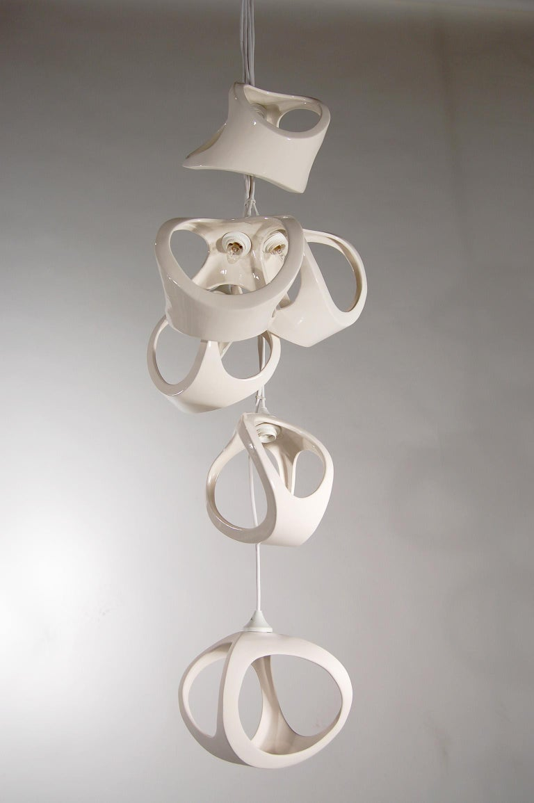 Ceramic Lamp 20 Cluster Vine Chandelier For Sale 4