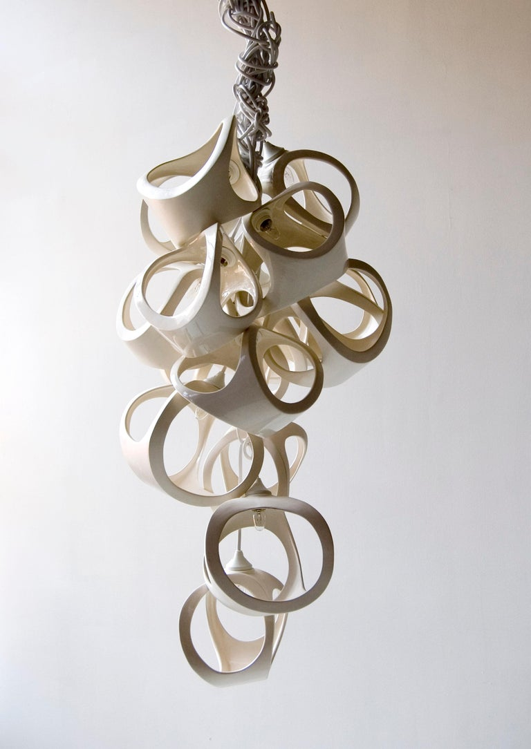 Ceramic Lamp 20 Cluster Vine Chandelier For Sale 3