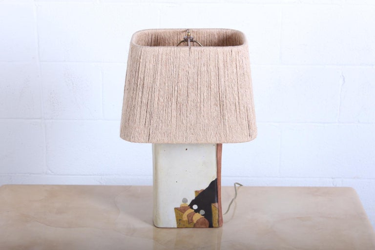 A ceramic lamp with cord shade by Charles Rothschild & Gloria Nepstead for Bar-Lo.