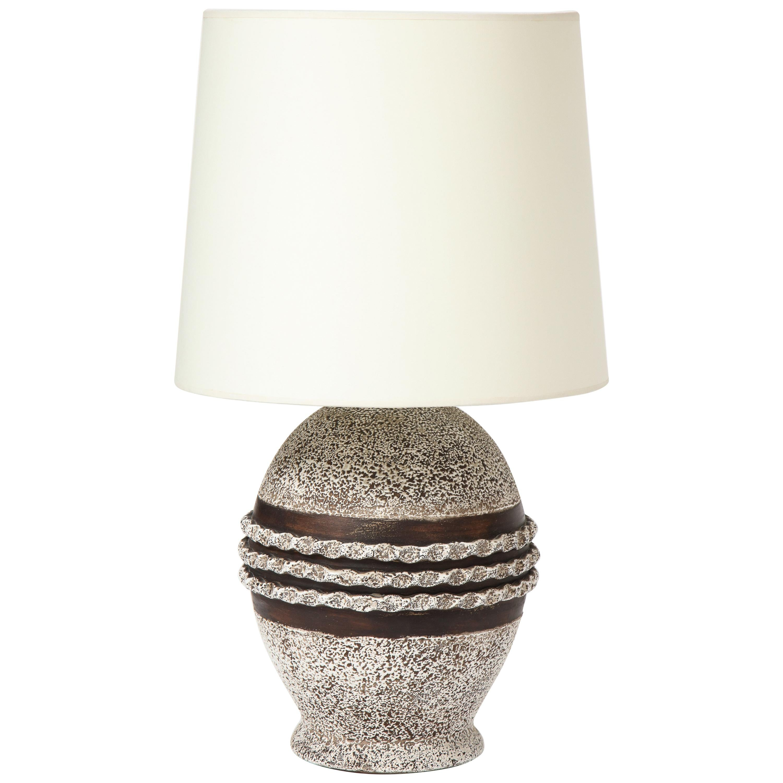 Ceramic Lamp in the Style of Jean Besnard, France, c. 1930-40