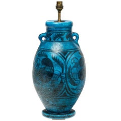 Ceramic Lamp with Blue and Black Glazes Decoration by Raoul Lachenal, 1930