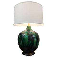 Ceramic Lamp with Green, Black, Blues