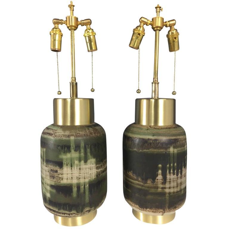 Ceramic Lamps Attributed to Design Technics or Maria Von Allesch Mid Century