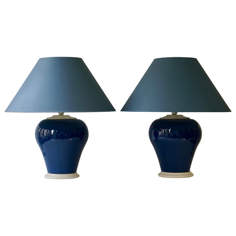 Ceramic Lamps in White and Blue For Sale