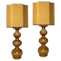 Ceramic Lamps with New Silk Custom Made Lampshades René Houben, Pair