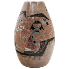 Ceramic Large or Floor Vase by Marc Bellaire, Native American Motif, Signed