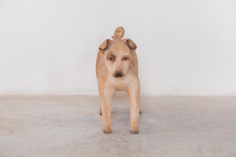 Mid-Century Modern Ceramic Lifesize Wagging Dog, 1980s, Belgium For Sale