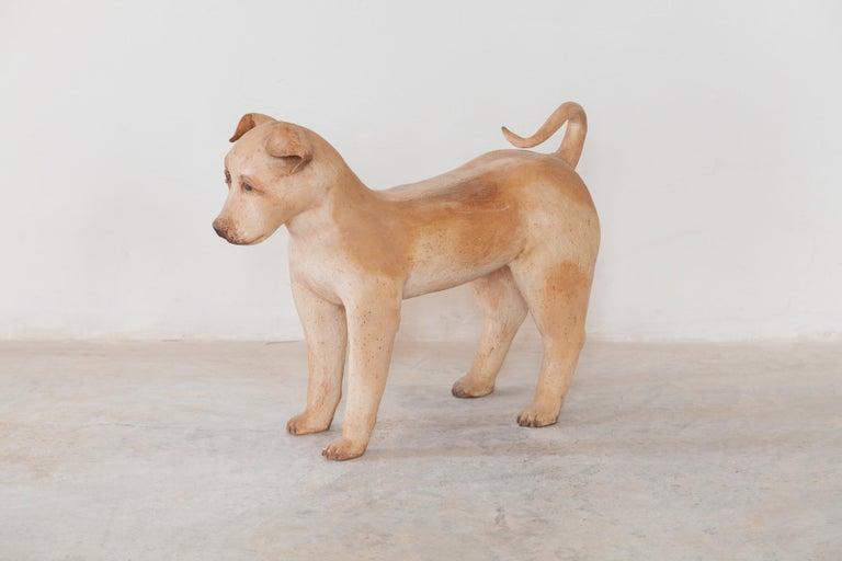 Belgian Ceramic Lifesize Wagging Dog, 1980s, Belgium For Sale
