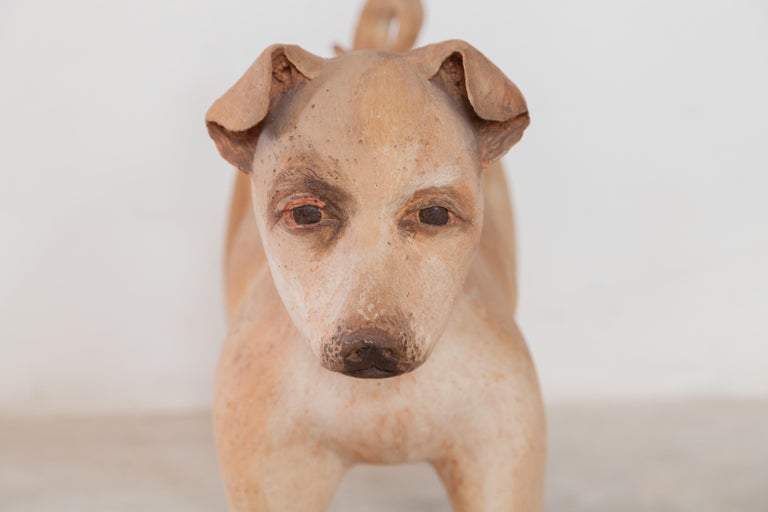 Hand-Crafted Ceramic Lifesize Wagging Dog, 1980s, Belgium For Sale