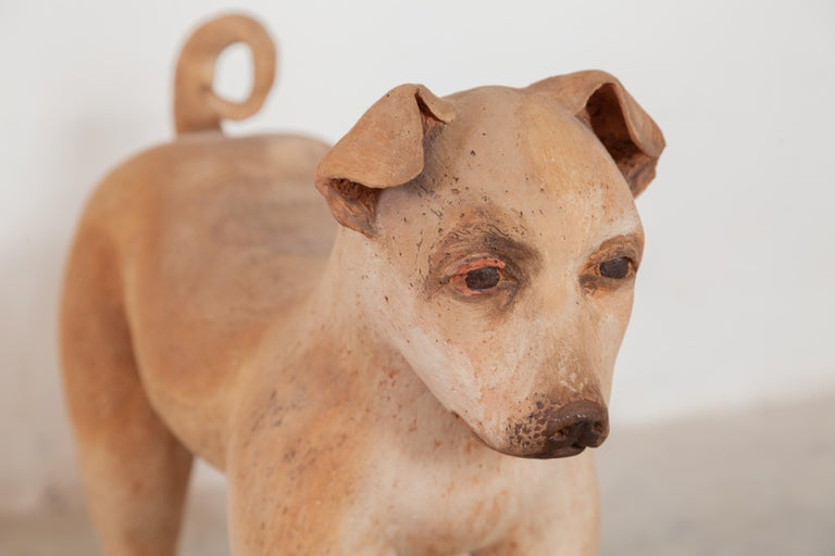 Ceramic Lifesize Wagging Dog, 1980s, Belgium In Good Condition For Sale In Antwerp, BE