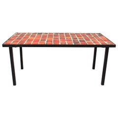Ceramic Low Table with Red-Hued Tiles by Mado Jolain 'circa 1950s'