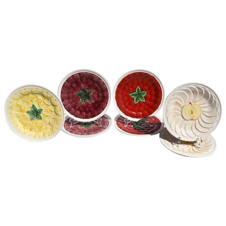 Ceramic Majolica Decorative Round Fruit Plates, Set of 7, Portugal