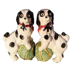 Ceramic Majolica Staffordshire Painted English Cavalier Dog Bookends - a Pair