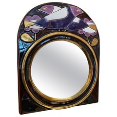 Ceramic Mirror by Mithé Espelt, France, 1970s