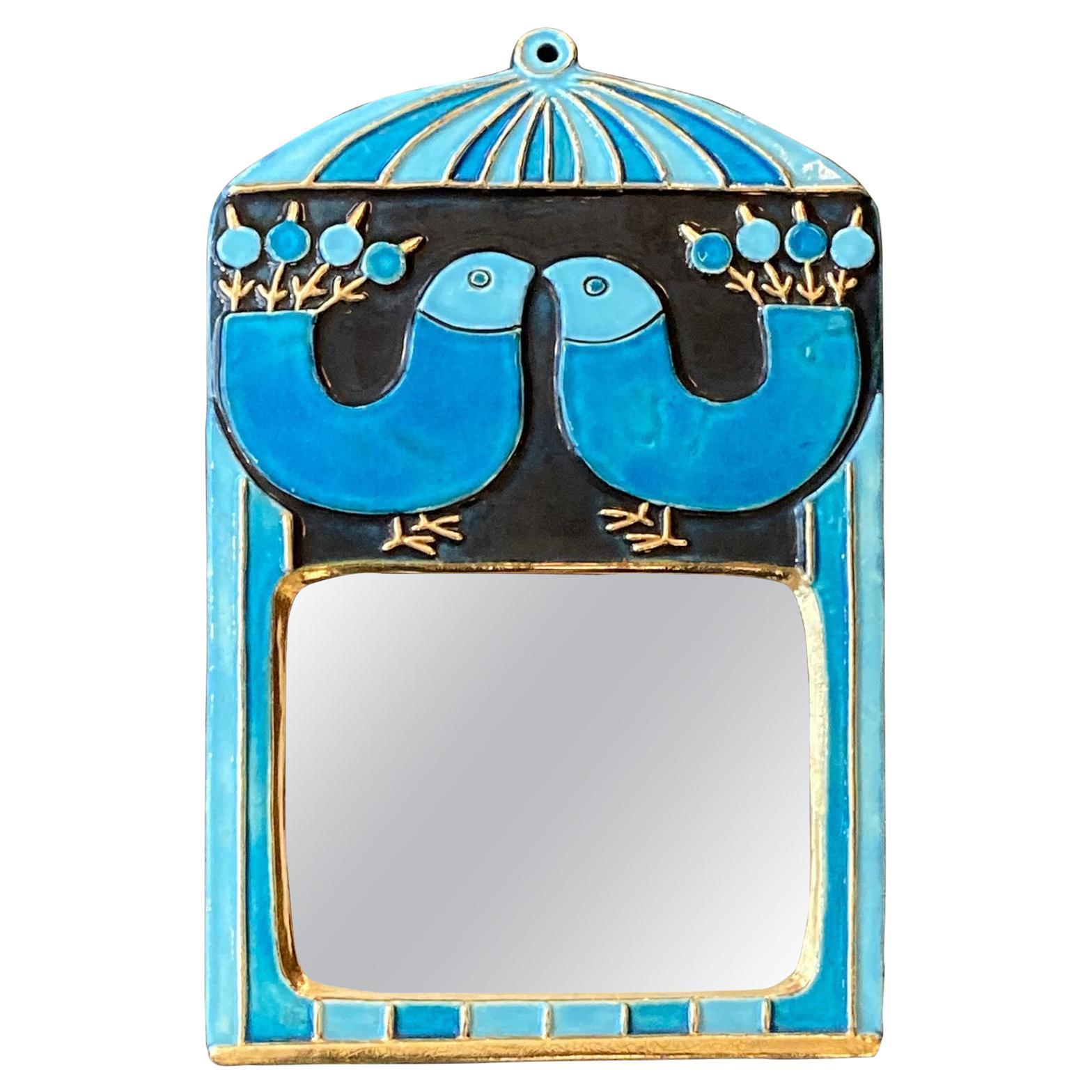 Ceramic Mirror by Mithé Espelt, France, circa 1970