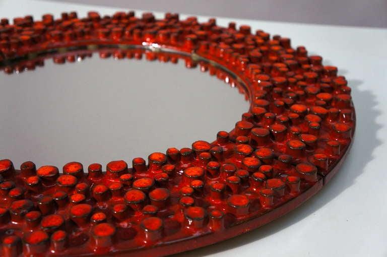 Ceramic Mirror by Oswald Tieberghien For Sale 4