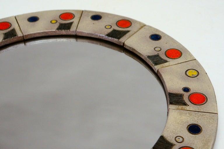 Mid-Century Modern  Ceramic Mirror by Oswald Tieberghien For Sale