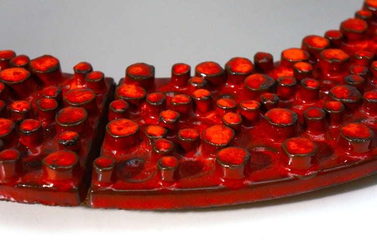 Belgian Ceramic Mirror by Oswald Tieberghien For Sale