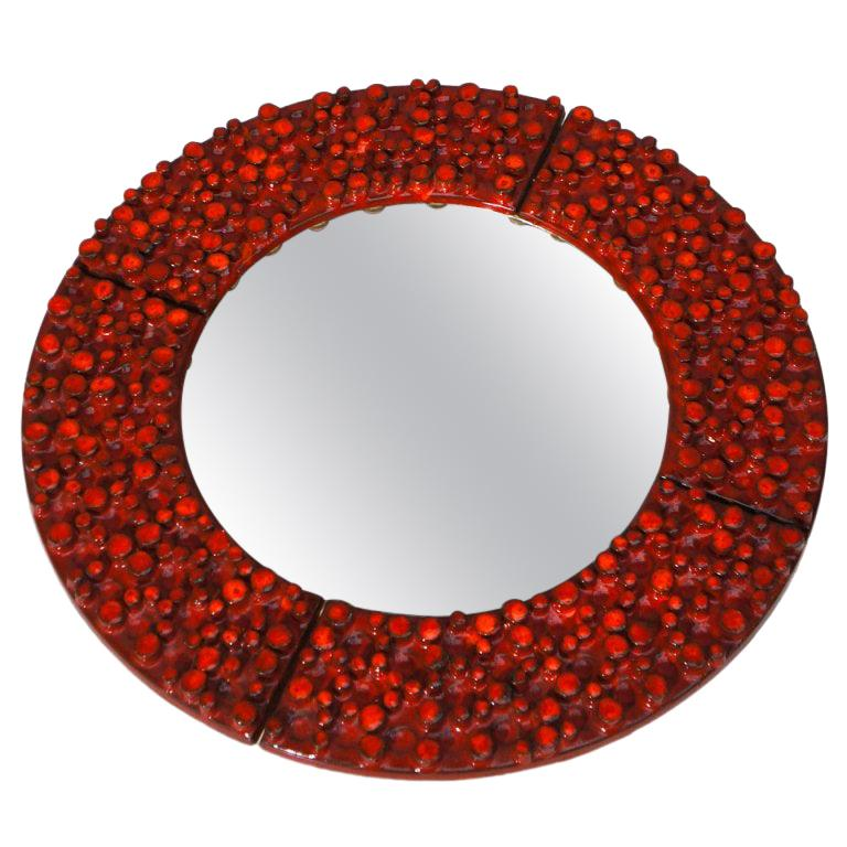Ceramic Mirror by Oswald Tieberghien For Sale