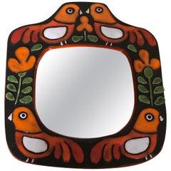 Ceramic Mirror French Artist François Lembo, Vallauris Birds, 1960s