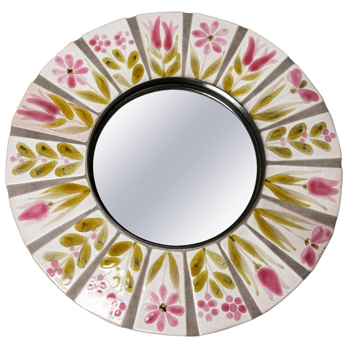 Ceramic Mirror Signed Roger Capron, circa 1960-1970