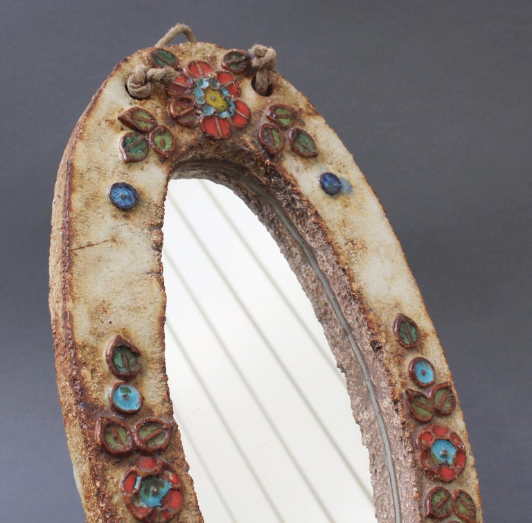 Ceramic Oval Wall Mirror with Floral Enamel Decoration by Atelier La Roue For Sale 6