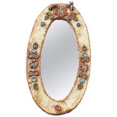 Ceramic Oval Wall Mirror with Floral Enamel Decoration by Atelier La Roue