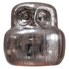 Ceramic Owl Sculpture in Silver Glaze by Aldo Londi for Bitossi, 1960s Italy