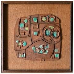 Ceramic Panel by California Artist Clyde Kelly, circa 1968
