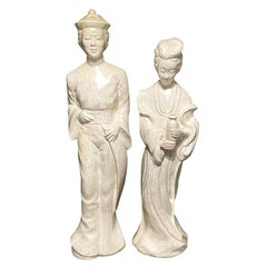 Ceramic Pearlized Glaze Chinoiserie Statues, a Set of 2