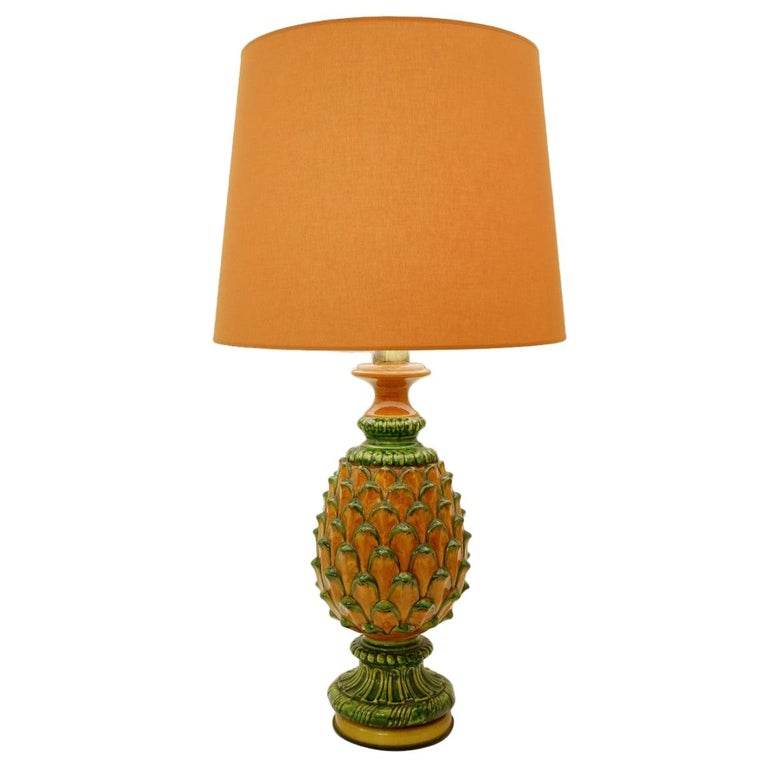 Ceramic Pineapple Table Lamp For Sale
