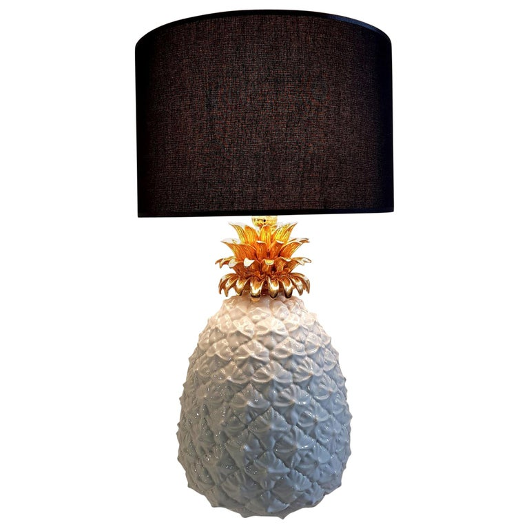 Ceramic Pineapple Table Lamp Made in Italy For Sale