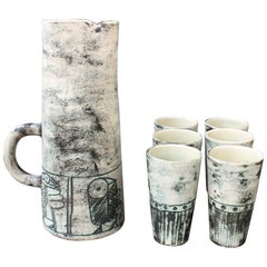Ceramic Pitcher and 6-Cup Set by Jacques Blin, circa 1950s