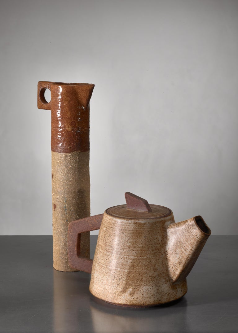 Mid-Century Modern Ceramic Pitcher and 'Tea' Pot, France, 1960s For Sale