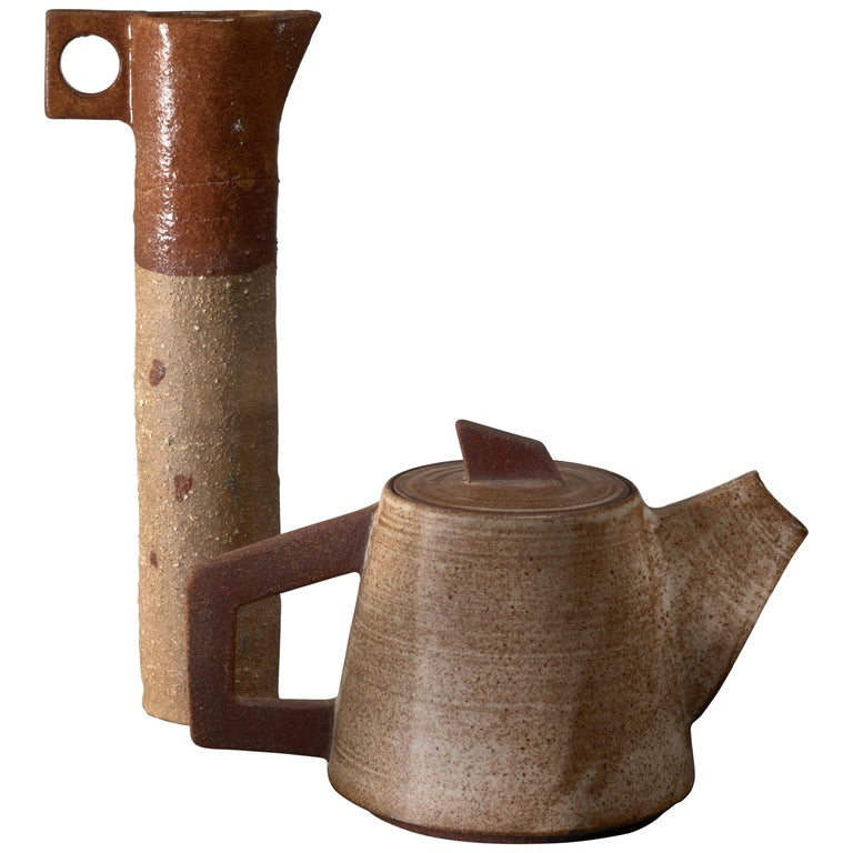 Ceramic Pitcher and 'Tea' Pot, France, 1960s For Sale