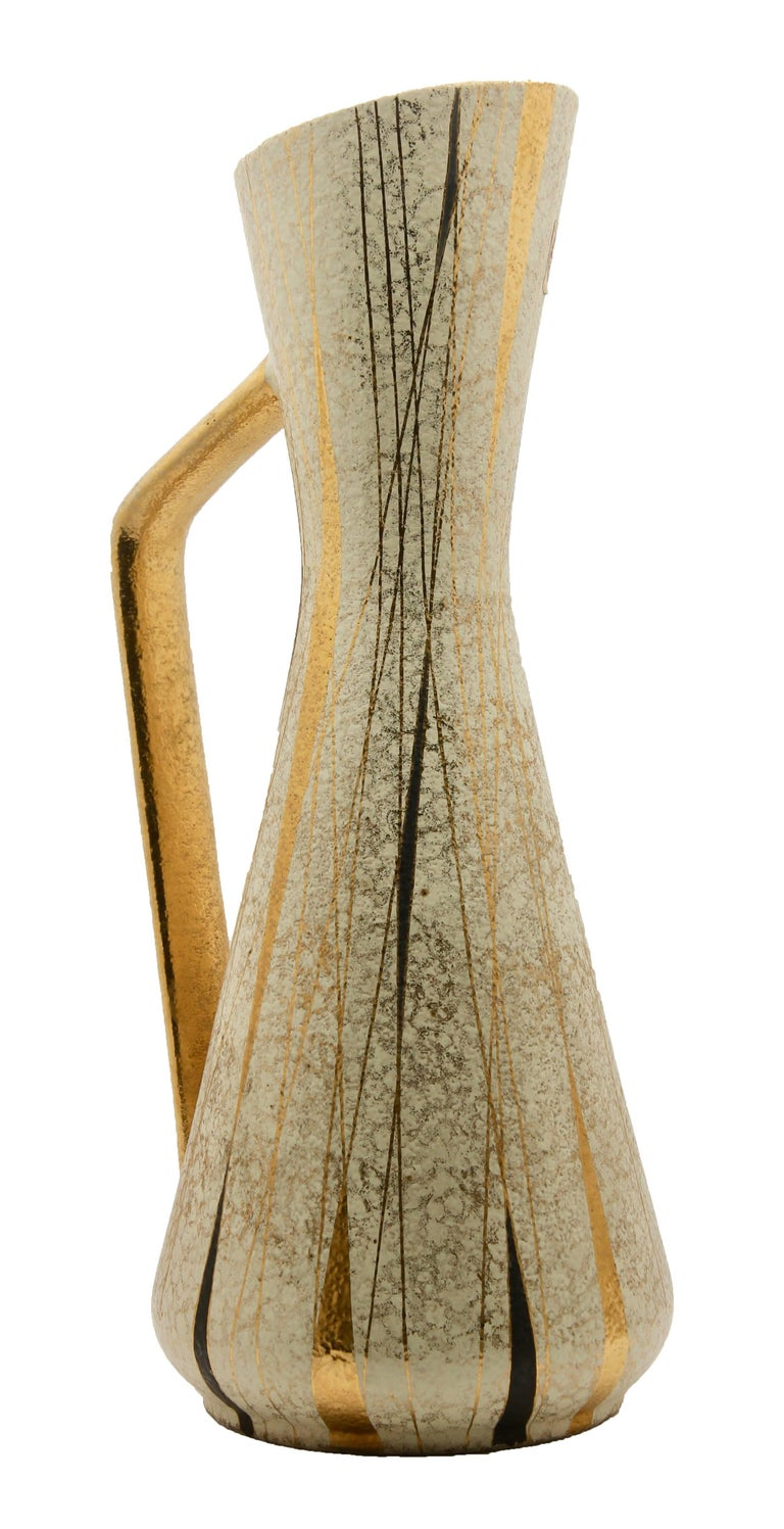 20th Century Ceramic Pitcher by Boussu with Hand-Applied Glazes and Gold-Leaf For Sale