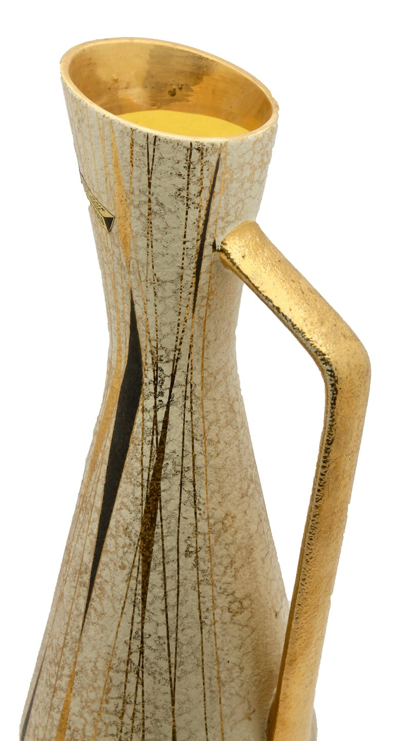 Ceramic Pitcher by Boussu with Hand-Applied Glazes and Gold-Leaf For Sale 1