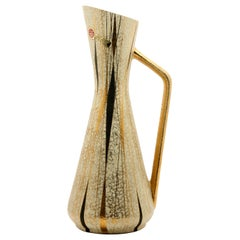 Ceramic Pitcher by Boussu with Hand-Applied Glazes and Gold-Leaf