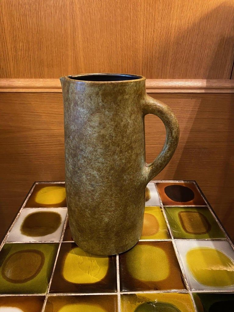 Ceramic pitcher by Les 2 Potiers, Jacques and Michèle Serre, active in France between 1956 and 1970.