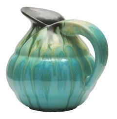 Ceramic Pitcher Light Blue Drop Glaze, Signed Belgium