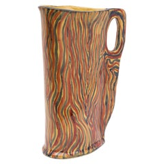 Ceramic Pitcher with Colorful Decoration in Red, Blue and Yellow, Albisola, 1950