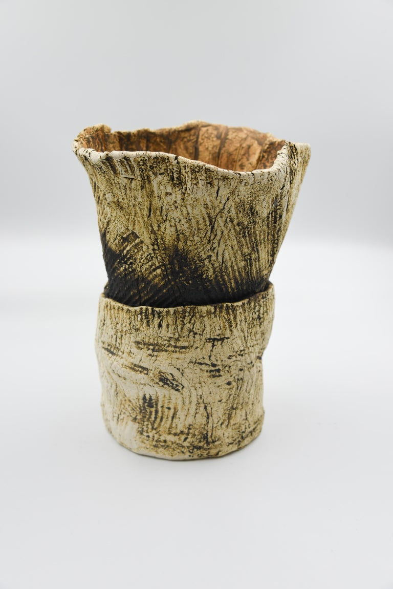 Ceramic Plant Clay Terracotta Mexican Design Abstract Organic Form Vase Handmade For Sale 1