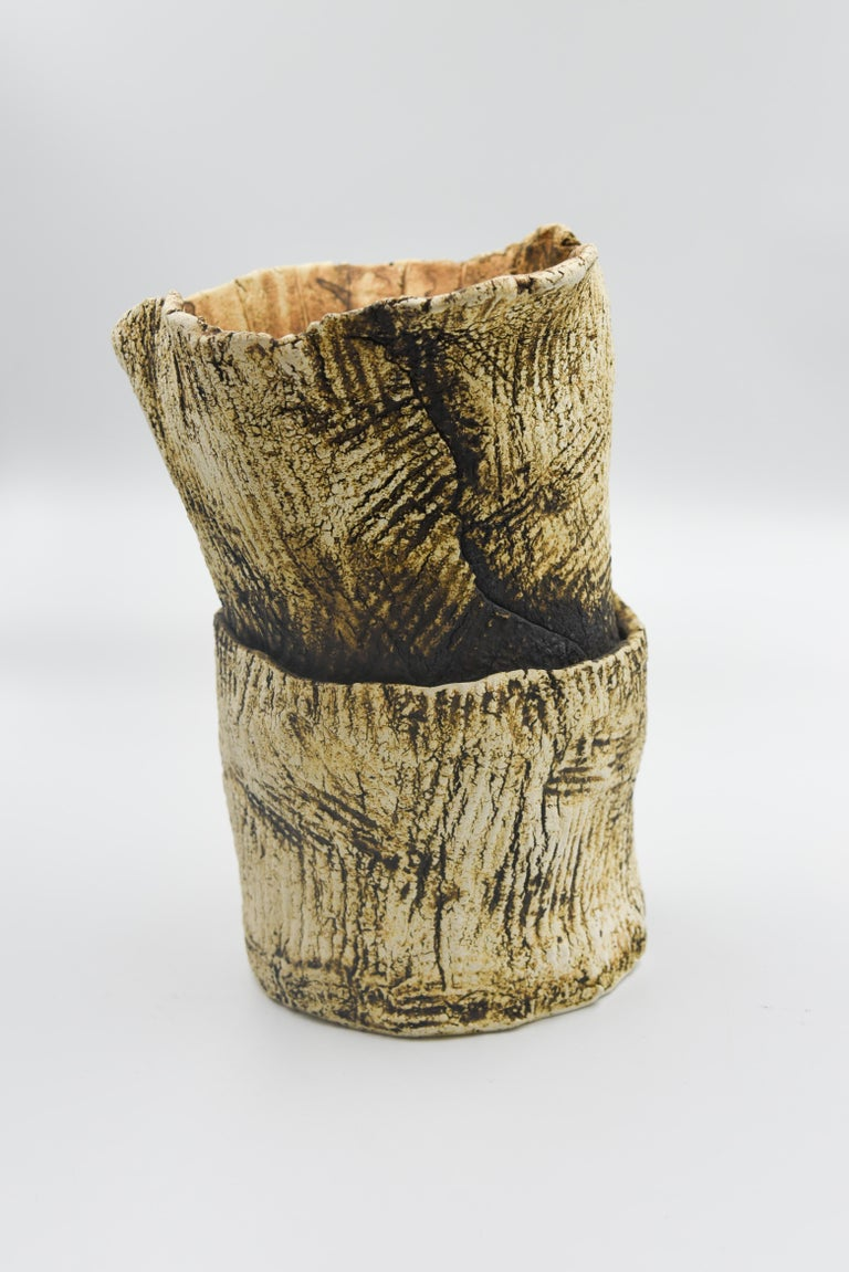 Ceramic Plant Clay Terracotta Mexican Design Abstract Organic Form Vase Handmade For Sale 2