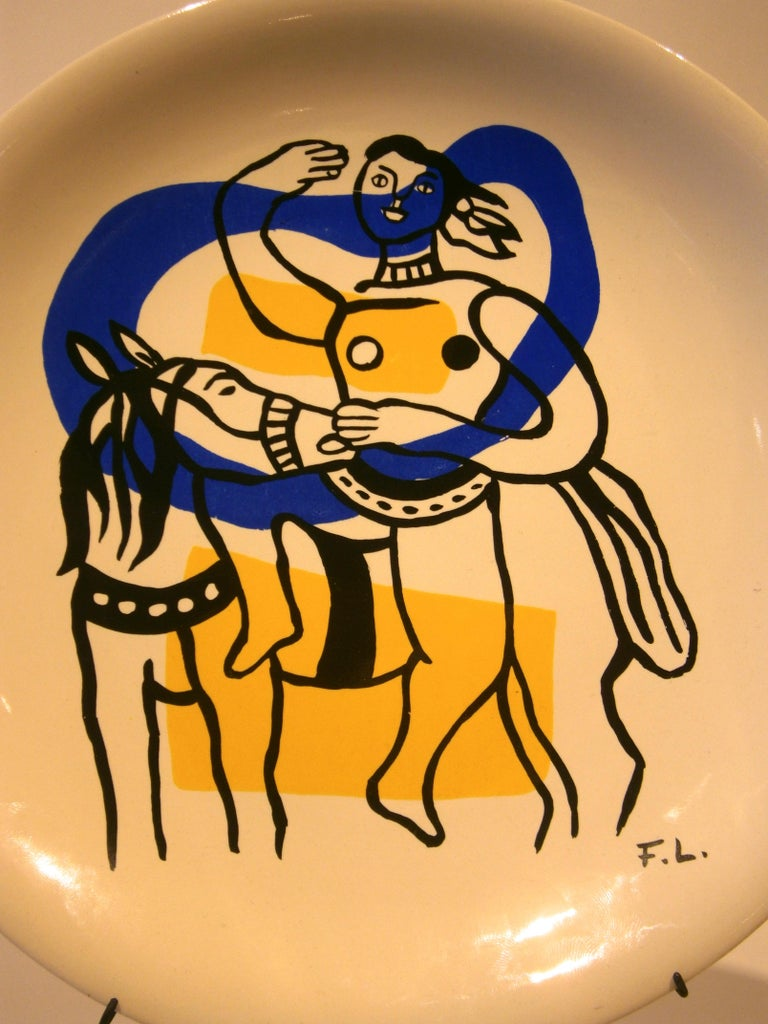 A beautiful ceramic plate from Fernand Leger's Acrobats series, circa 1950s. This porcelain plate has the all important