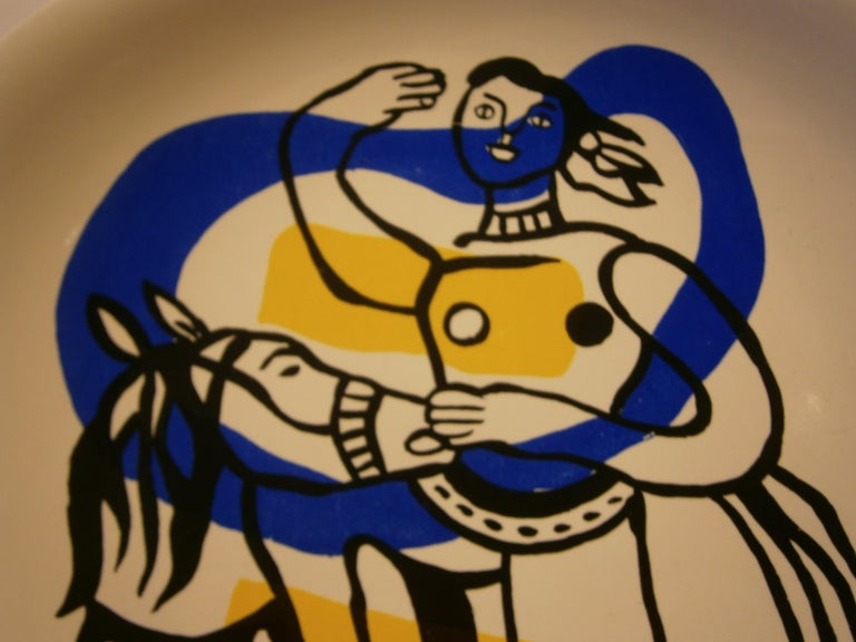 Mid-Century Modern Ceramic Plate from Fernand Leger's Acrobats Series, circa 1950s For Sale