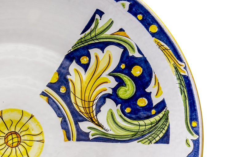 Renaissance Ceramic Plate Hand Painted Glazed Earthenware Italian Contemporary For Sale
