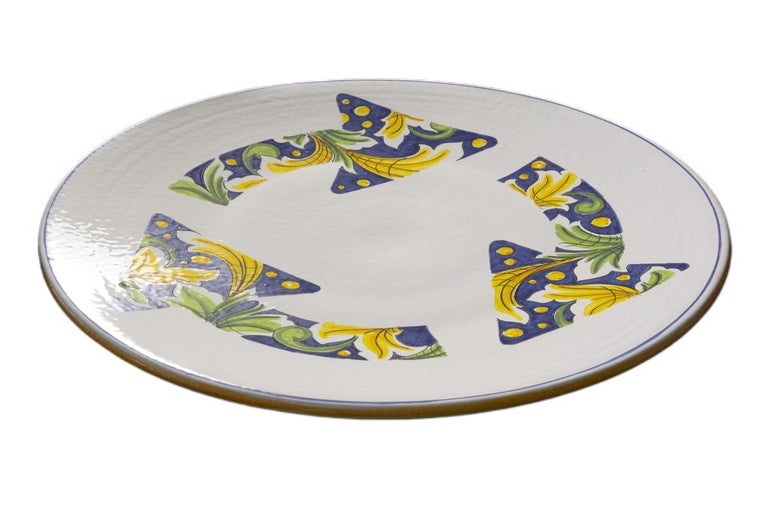 Ceramic Plate Hand Painted Glazed Earthenware Italian Contemporary In New Condition For Sale In London, GB
